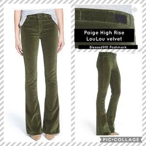 NWOT Paige HIGH RISE LOU LOU FADED MOSS GREEN T15